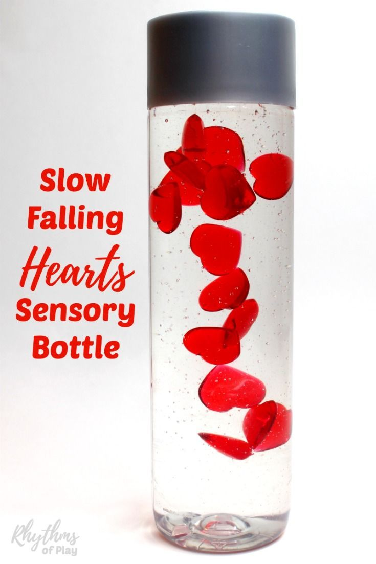 Slow falling hearts sensory bottle makes a great gift idea for Christmas, Valentine's Day, and anniversaries. Discovery bottles like this are commonly used for no mess sensory play, as a calm down jar, or a meditation technique for children. They are just as effective for adults.