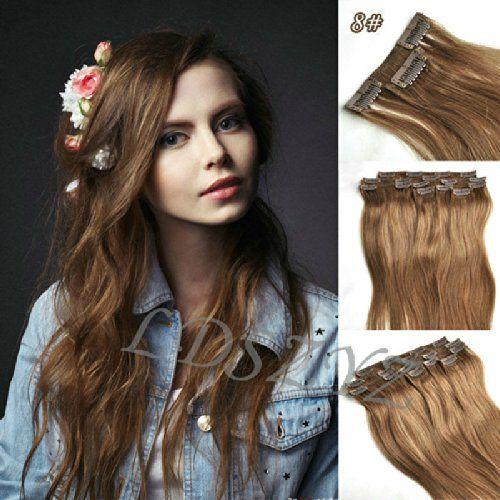 38cm 7pcs l'agrafe dans les prolongements de cheveux humains de Remy 70g # 8 – brun moyen / moyen brun cendres | Your #1 Source for Beauty P...