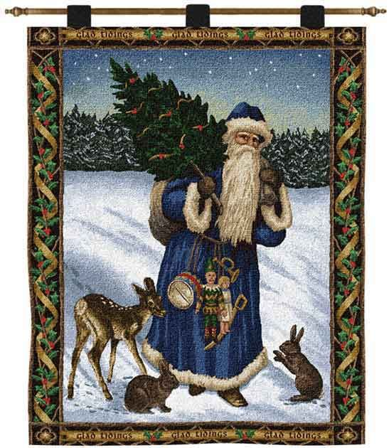 father christmas blue tapestry christmas wall tapestries and wall hangings