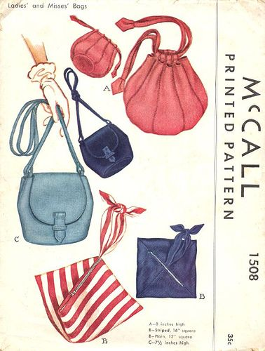 Beach Bags! How about a summery fun shape beach bag? This cool scarf-like beach bag (design 'b') from 1949 McCall's Patterns.
