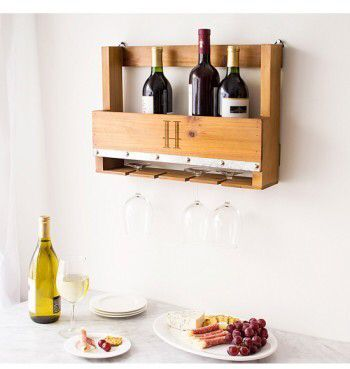 Cathy's Concepts Personalized Rustic Wall Wine Rack & Glass Holder (Aff)