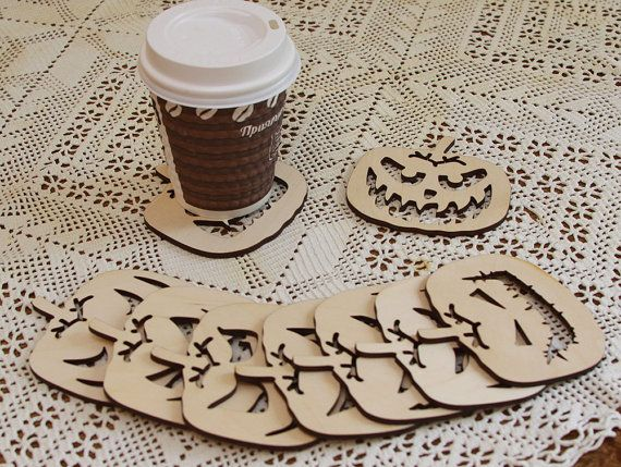 Set of 9 coasters for mugs. Quadratic pumpkin. Birch plywood. Home kitchen decor horror halloween laser cut
