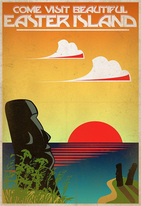 Retro Easter Island Travel Poster 13x19 door IndelibleInkWorkshop