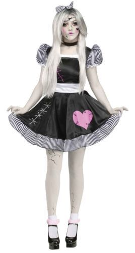 Womens-Broken-Doll-Costume-Black-White-Cracked-Dolls-Fancy-Dress-Adult-S-M-L-NEW
