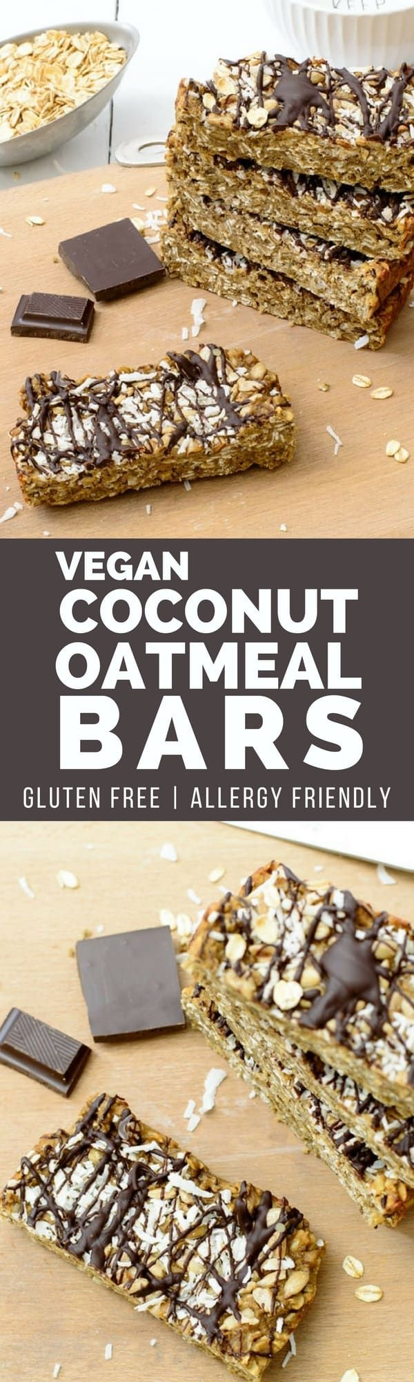 Vegan coconut oatmeal bars are ready in under 20 minutes. Easy to make, allergy friendly, gluten free and vegan. The perfect for after school snack, on-the-go morning breakfast or snack! | bitesofwellness.com #glutenfree #vegan #allergyfriendly