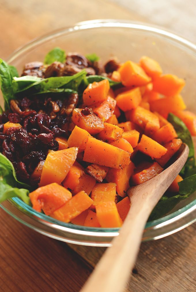 Warm Roasted Butternut Squash Salad - great light summer salad. Would definitely have to pair this with something protein-y (perhaps a portion of grilled chicken).