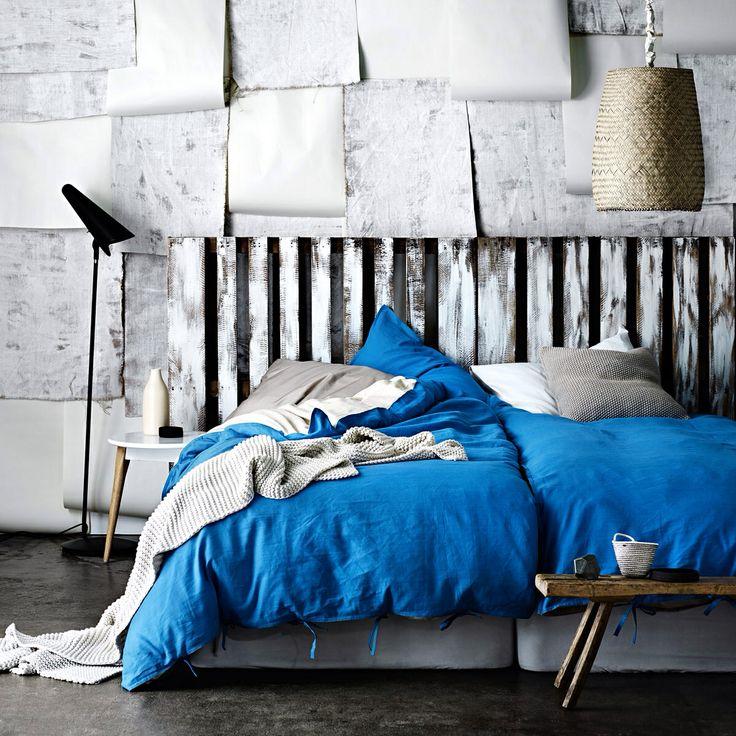 AURA Home, Winter 2014, Maison Quilt Cover in Brilliant Blue.