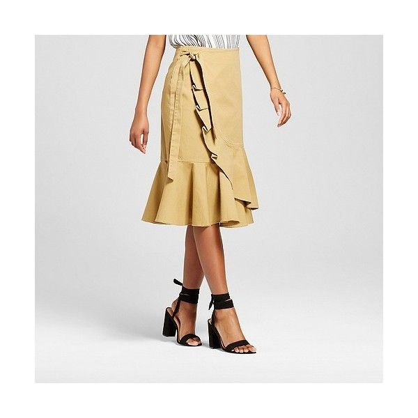 Women's Ruffle Wrap Skirt ($30) ❤ liked on Polyvore featuring skirts, brown, wrap skirts, frilled skirt, flounce skirt, frilly skirt and brown skirt