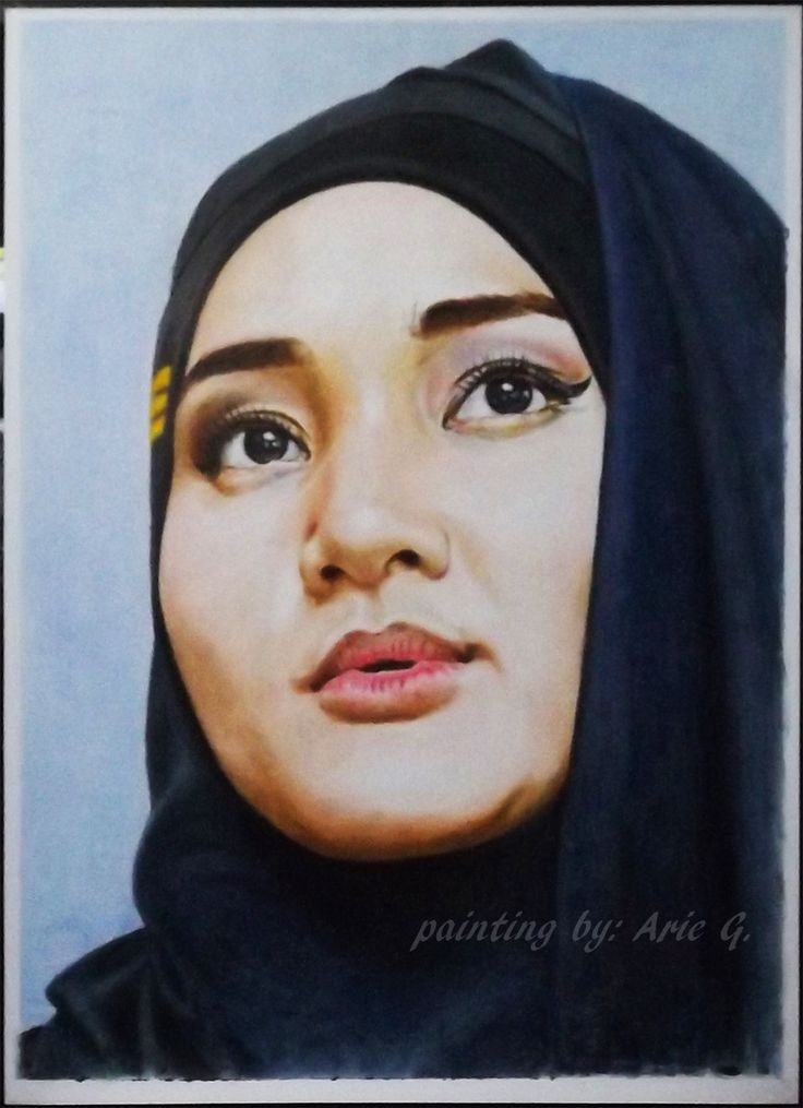 Fatin Shidqia Lubis. She is a famous Indonesian singer, graduated from X Factor Indonesia singing contest.  Oilpainting on cardsheet (drybrush technique) 75 X 105 cm size