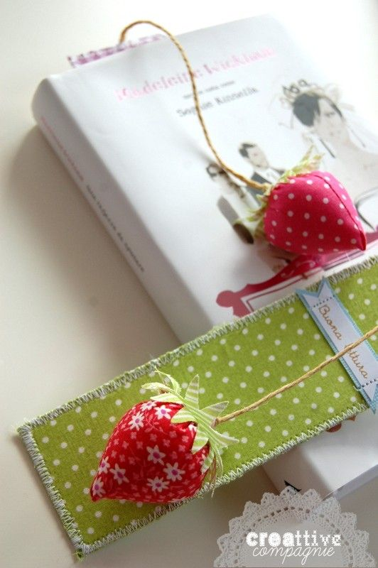 ~ Strawberry Book Mark ~ handmade red fabric and green felt