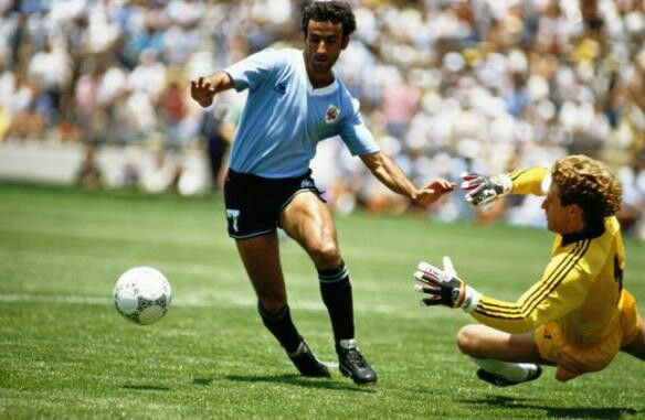 Uruguay 1 West Germany 1 in 1986 in Queretaro. A goal after only 4 minutes by Antonio Alzamendi makes it 1-0 to Uruguay in Group E at the World Cup Finals.