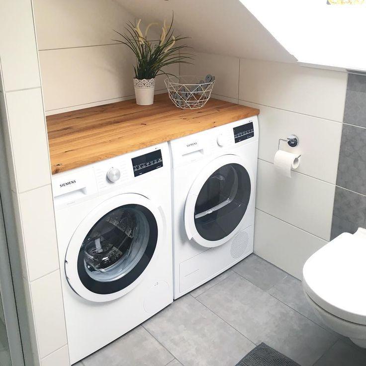 ▫️Bad▫️ . Wer sagt denn, dass eine Waschmaschine / ein Trockner im Bad …
