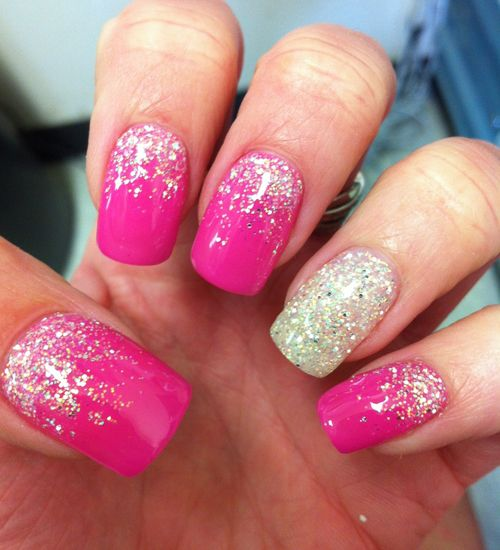 Pink and Faded Glittered Gel Nail Art Design