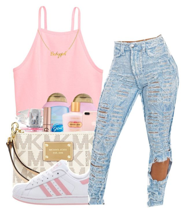 """When we fückin i be catching chills❄️"" by maiyaxbabyyy ❤ liked on Polyvore featuring MICHAEL Michael Kors and adidas"