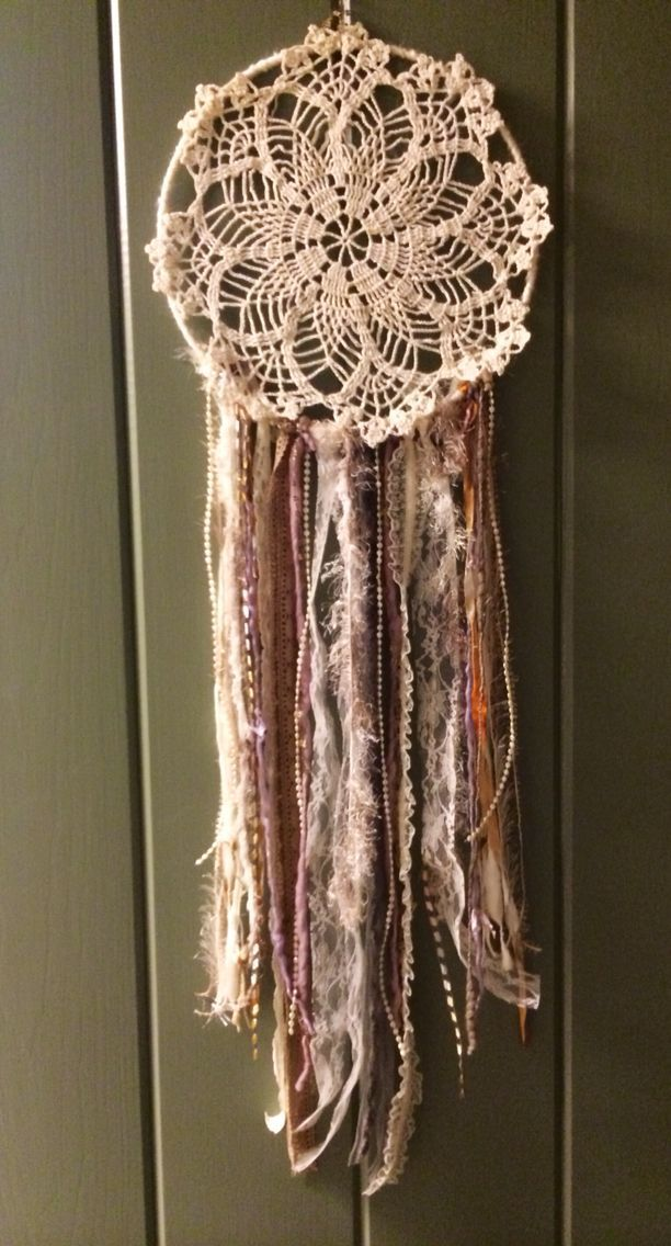 Dream catcher using a doily my great grandmother made.