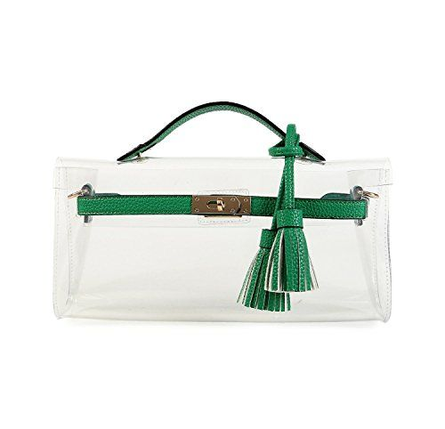 Lam-Gallery-Clear-Purses-and-Handbags-for-Women-Work-NFL-Stadium-Approved-Bags-for-Football-Games-Transparent-Clutch-Beach-Bag-PVC-Plastic-See-Through-Shoulder-Crossbody-Bags-Green-0