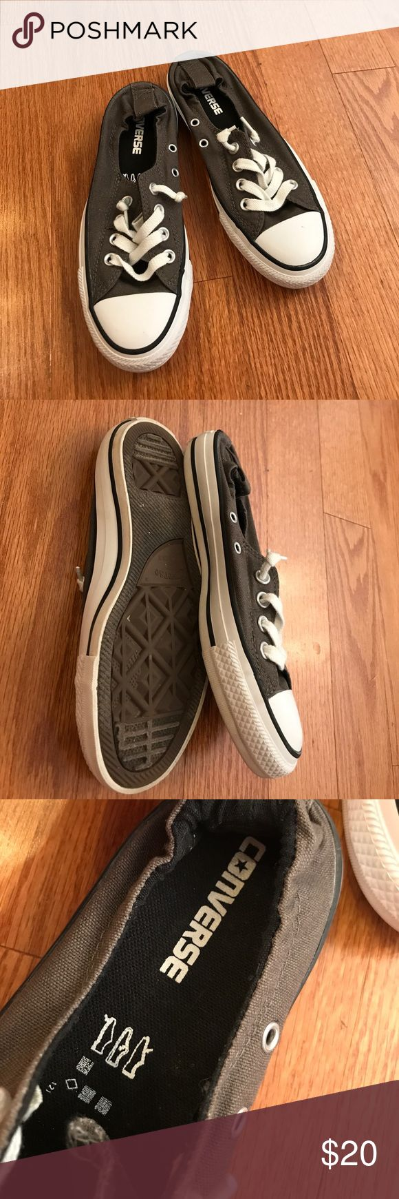 Converse slip on shoes! Basically brand new, these shoes are classic gray converse slip ons! Converse Shoes