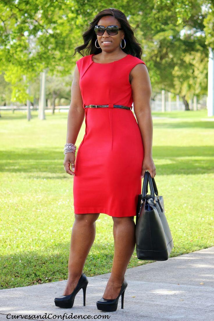 Curves and Confidence | Inspiring Curvy Fashionistas   | Dress - Calvin Klein | Pumps - Jessica Simpson | Purse - Just Fab |