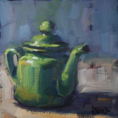 cathleen rehfeld • Daily Painting: Odd Little Green Teapot - sold