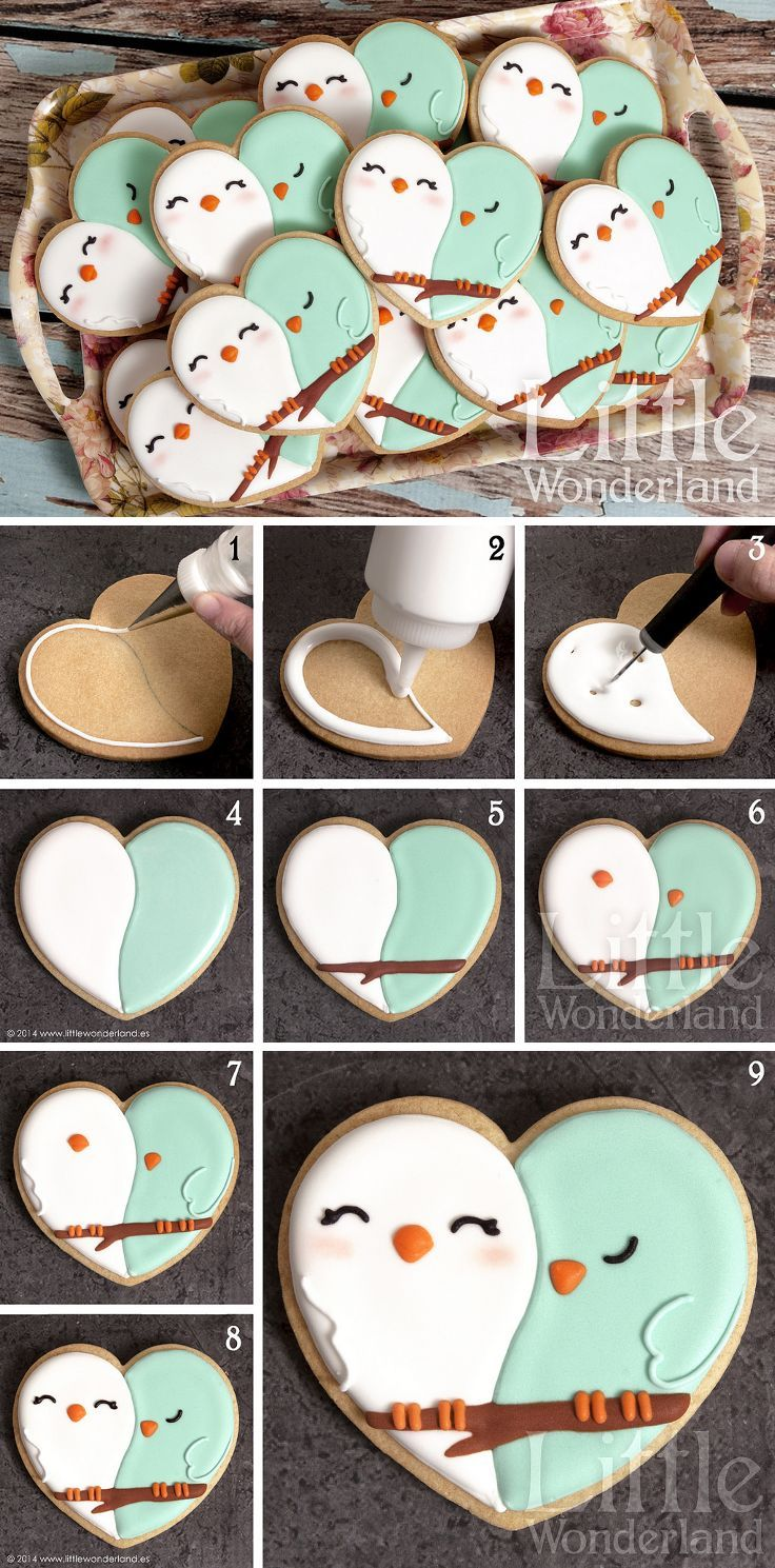 Love Birds Cookies ~ from a heart-shaped cookie cutter & flood icing…