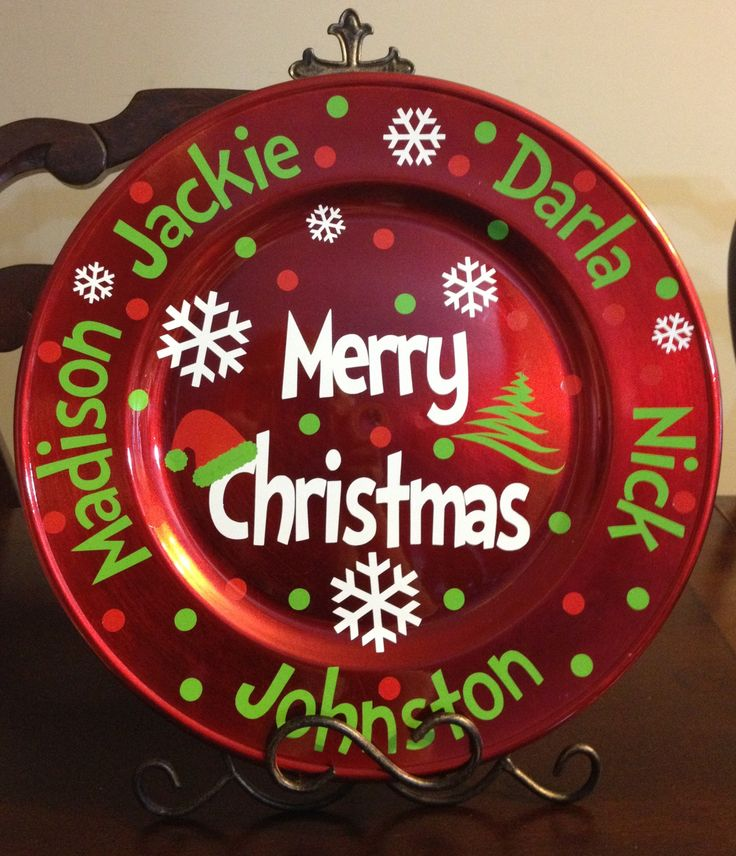 Family Christmas charger - made a couple of these with different patterns. Cute, inexpensive, and super easy! Use vinyl sized for glass blocks if you're searching on Etsy.