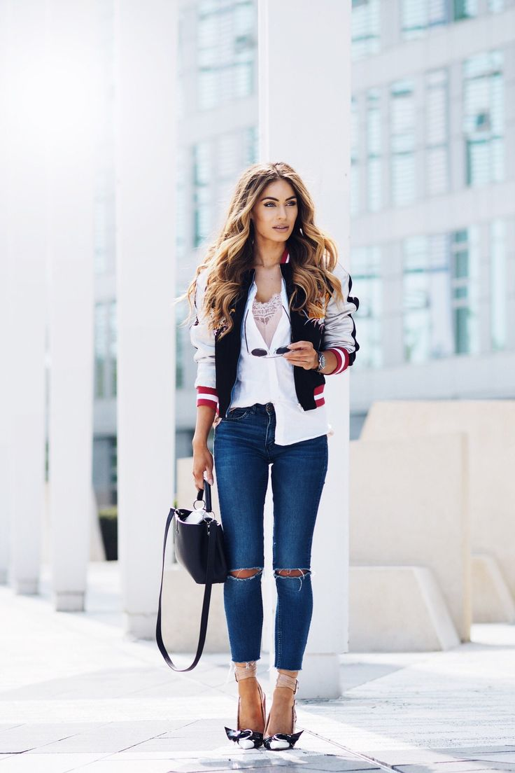 How To Style the Satin Bomber Jacket Jacket – Topshop , Shirt – Topshop , Denim – H&M DIY , Cami – H&M , Bag – Louise Vuitton , Watch – Chanel , Shoes – Dior , Sunglasses – Dior Fashion Look by Lydia Elise Millen