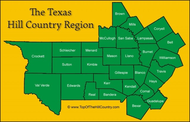 Texas Hill Country Counties Map