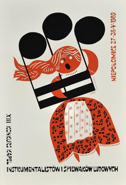 Polski plakat ogłaszający XIII Konkurs Kapel-Instrumentalistów i Śpiewaków Ludowych na zamku w Niepołomicach 27-28.05.1989 r. Projekt plakatu: Jerzy Napieracz, 1989.