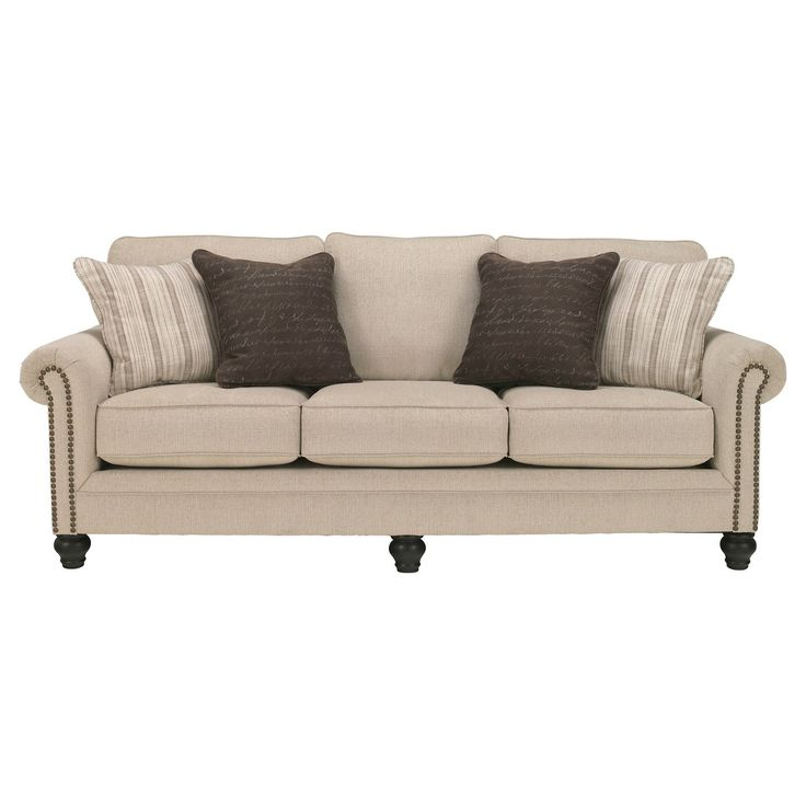 Milari queen sofa sleeper masters the art of smart and sophisticated style. Linen-like upholstery exudes such a crisp, clean sensibility, while nailhead trim really plays up the flow and flair of rolled arms. Turned bun feet in a rich, dark finish are a brilliant complement. Queen pull-out mattress is a royal convenience for accommodating overnight houseguests.  Signature Design by Ashley is a registered trademark of Ashley Furniture Industries, Inc.