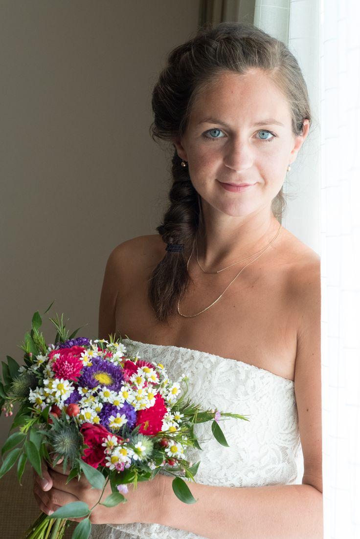 Bright summer flower bouquet for beach wedding. Daisy, callistephus and local greenery by Gourioti Flowers