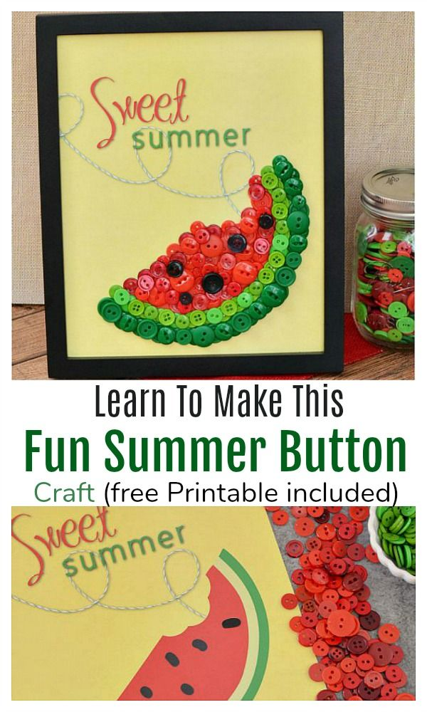 Diy Sweet Summer Watermelon Button Craft Craft Ideas Adult