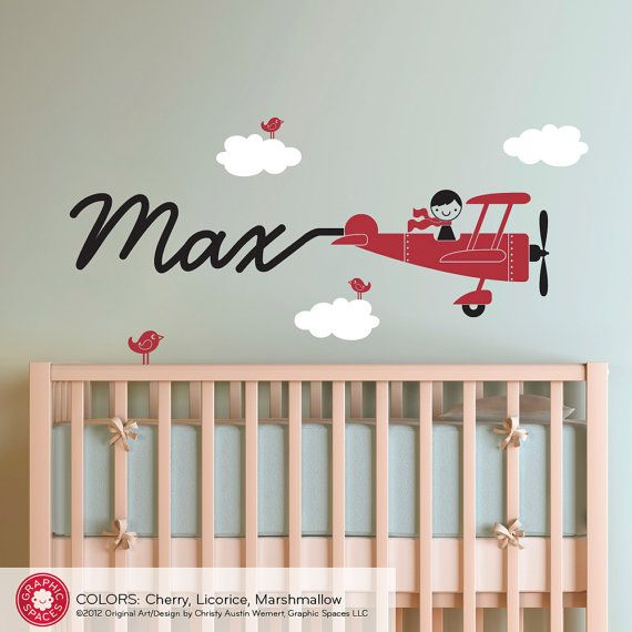 Airplane Decal Boy Name Skywriter Baby Travel Nursery