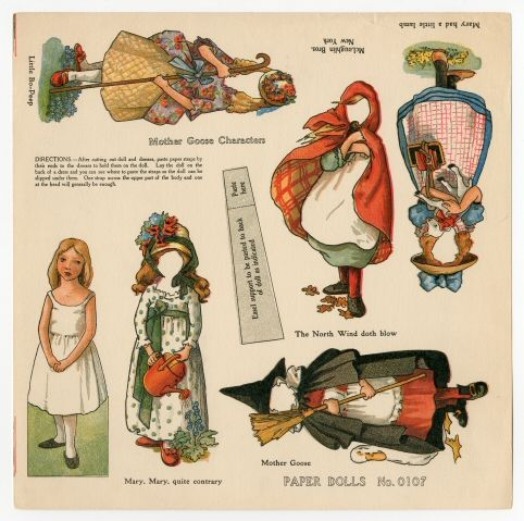 75.2186: Mother Goose Characters | paper doll | Paper Dolls | Dolls | National Museum of Play Online Collections | The Strong