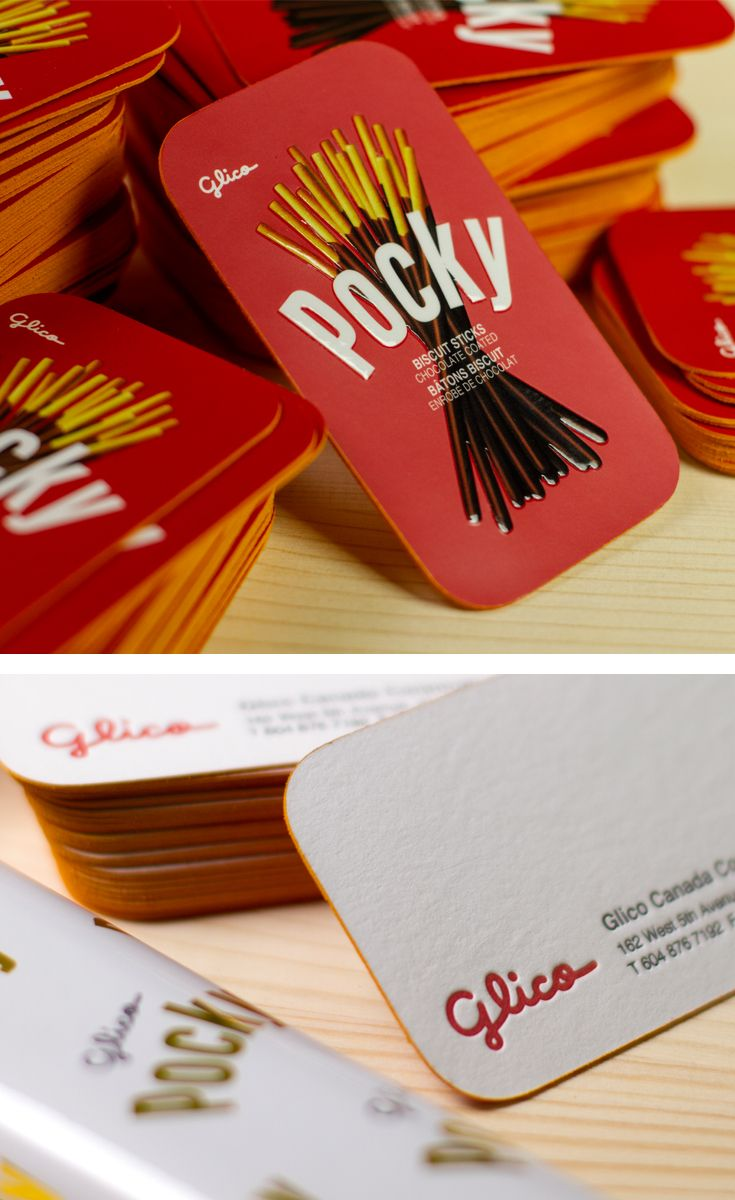 Pocky 2ply business cards with Embossed Spot UV / Letterpress and Yellow Colored Edges. #jukeboxprint