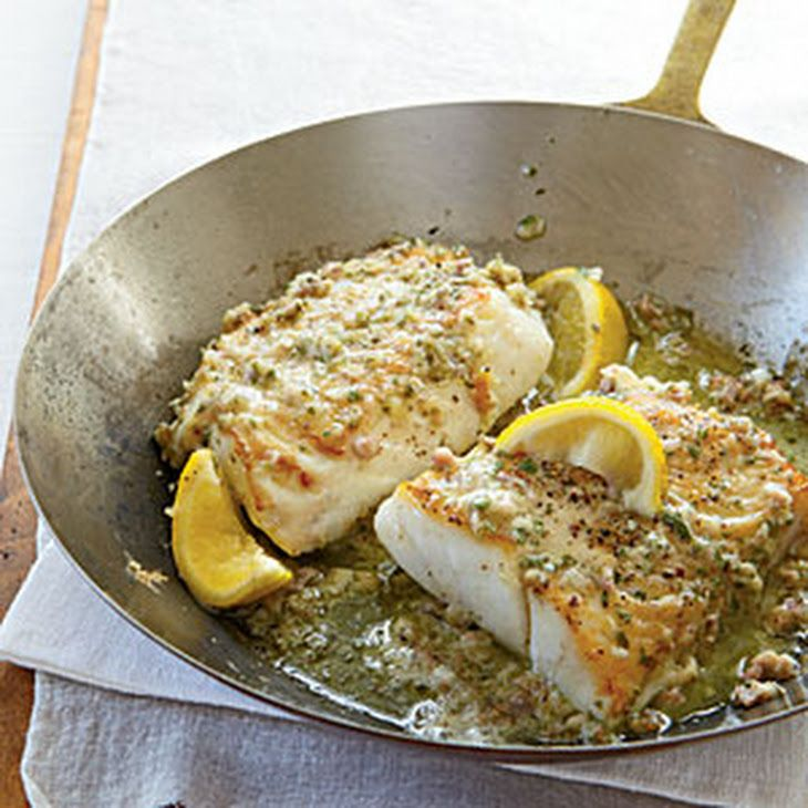 Roast Cod with Garlic Butter Recipe Main Dishes with unsalted butter, flat leaf parsley, large garlic cloves, shallots, dijon mustard, prosciutto, almonds, lemon juice, salt, freshly ground pepper, canola oil, skinless cod fillets, lemon wedge