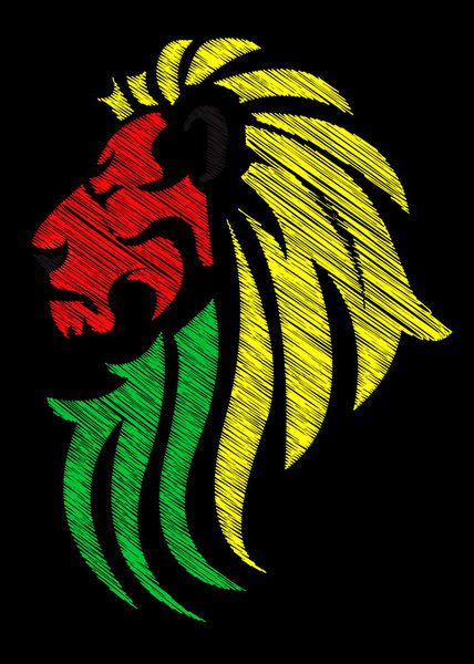 Lion Reggae Colors Cool Flag Vector by Denis Marsili on