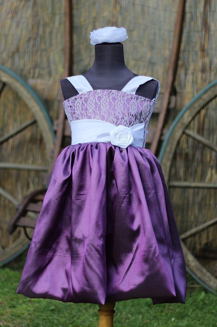 Dětské fialové šaty na svatbu - dětské šaty pro družičky - dětské šaty společenské -  Svatební studio Nella Česká Lípa
