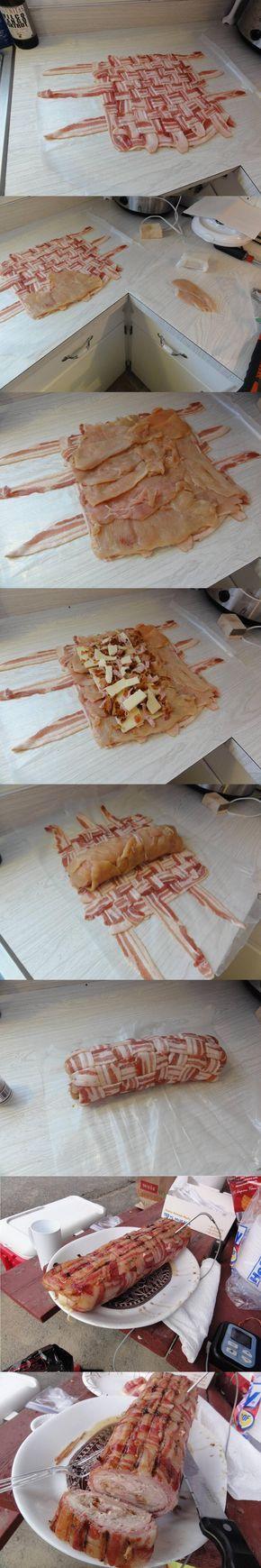 Delicioso tejido de tocino con pollo