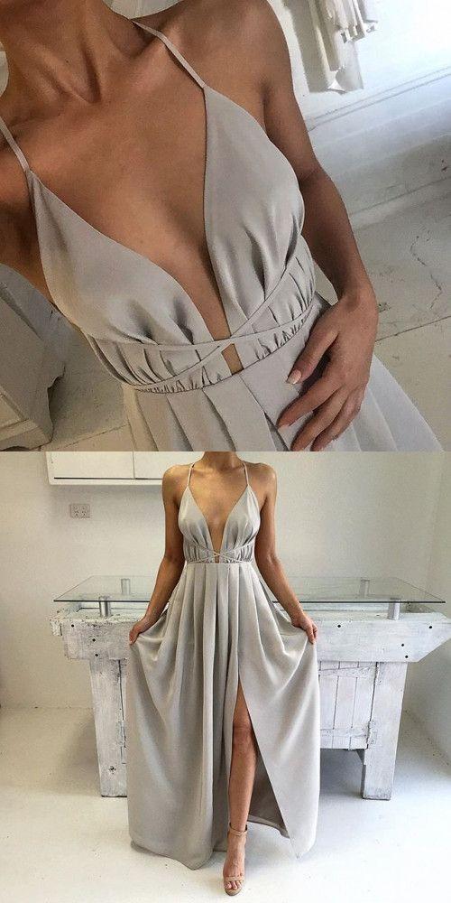 2017 long prom dress, silver long prom dress, long prom dress with slit, formal evening dress