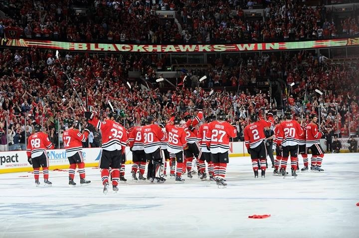 Blackhawks winning game 7 against Detroit in the playoffs!