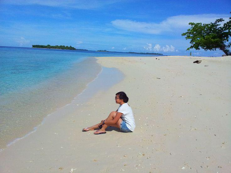 blue sky blue beach white sand at pulau tujuh maluku,.its empty island so its kinda feel like private island for us