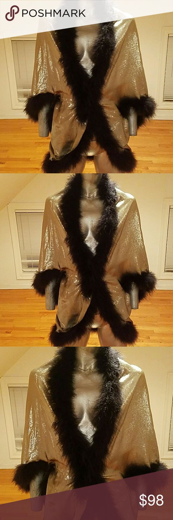 Vintage Silver Lame' Marabou feather Opera Wrap Jk This one is an absolute must have for the Hobo Chic in you. all silver Lame' adorned by Marabou feather all over Trim. by  Sylvia Betts Cher of Philadelphia,Pa. Sylvia Beitscher Jackets & Coats Capes