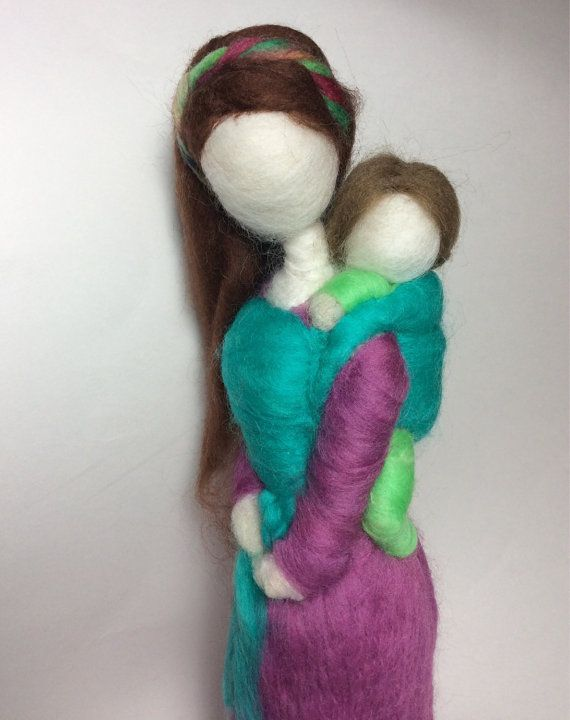 Needle Felted Babywearing Mother and by radishwoolworks on Etsy, $50.00