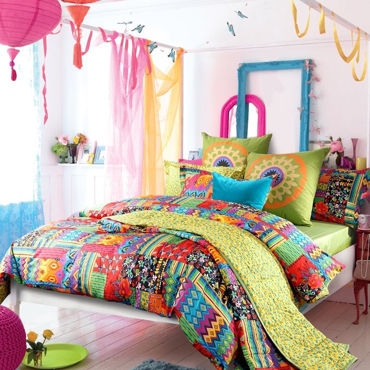 colorful bohemian luxury holiday style tribal print kids and teen full queen size bedding sets