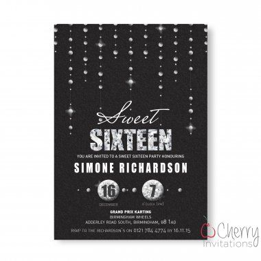 Elegant Sweet 16 Glitter & Diamonds Themed Single Sided Personalised Birthday Invitations - From as little as £0.41 per card - Including free envelopes and delivery on all orders!