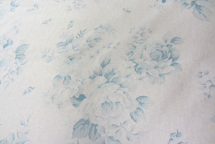 "Faded Roses French Linen Blue  280cm/108"" Wide Curtain Fabric  in Crafts, Fabric 