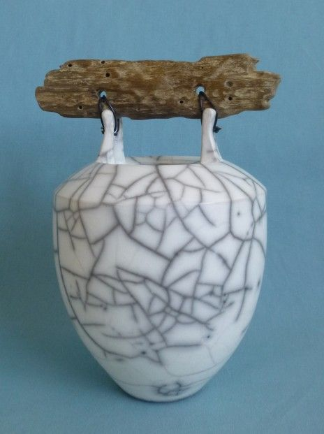 Anne Morrison shouldered urn with flat wood ht 26cm   Scottish Contemporary Art
