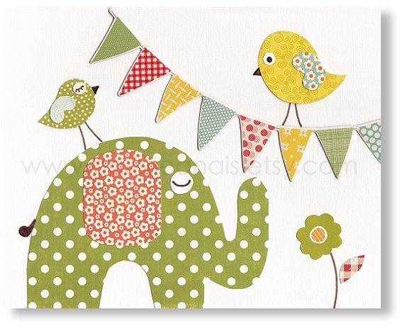 Vivaio arte stampe - arredamento scuola materna bambino - Kids parete arte - uccelli - stampa animale da Party - verde - gialla - da Galerie...