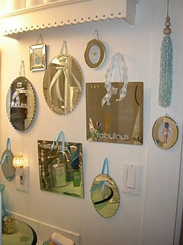 Rhinestoned Mirror Grouping, Painted Glass, Dishes U0026 Ceramic Crafts