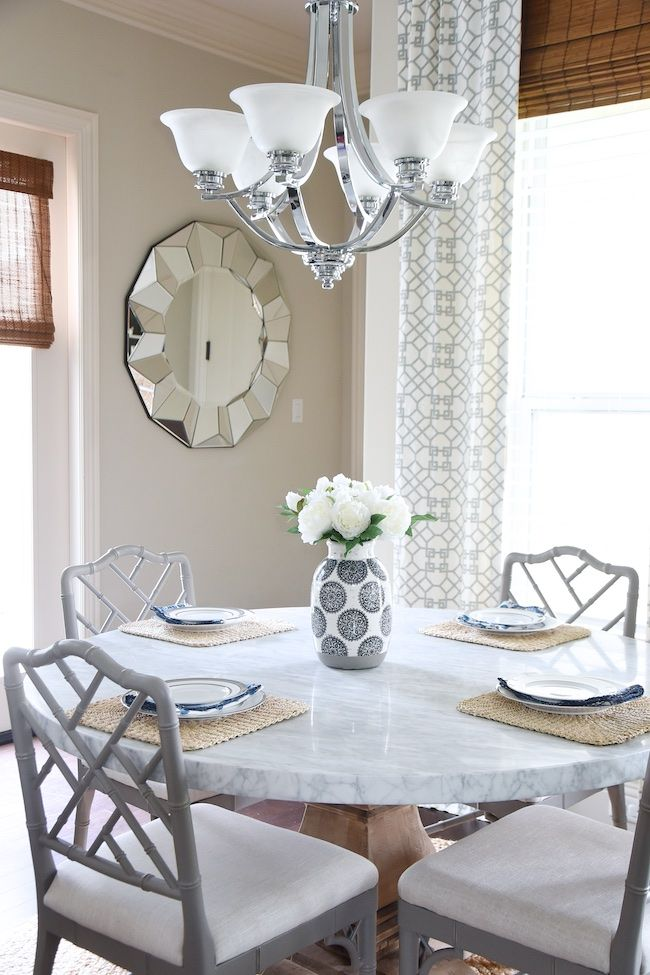 Nice Marble Round Table Grey Bamboo Chairs
